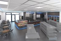 Vizualizácia interiéru predajne čerpacej stanice